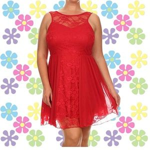 Sexy Plus Size Red Floral Lace Cocktail Dress